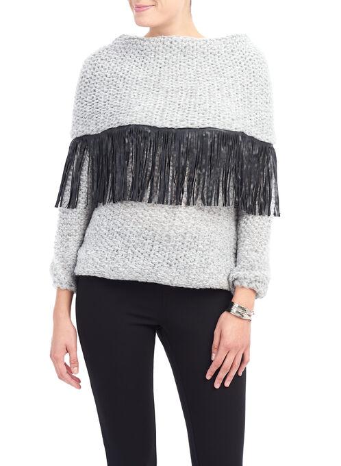 Fringed Collar Knit Sweater, Grey, hi-res