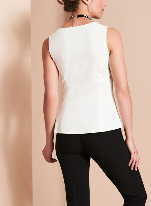 Sleeveless V-Neck Top , Off White, hi-res