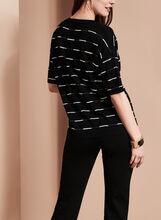 Elena Wang Stripe Print Knit Top, Black, hi-res