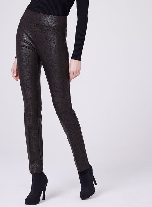 Insight - Pantalon pull-on jambe droite en point de Rome irisé, Brun, hi-res