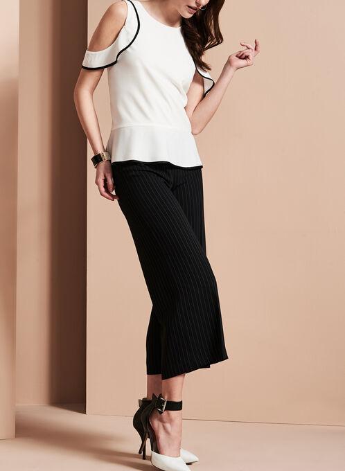 Jupe-culotte à imprimé rayé, Noir, hi-res
