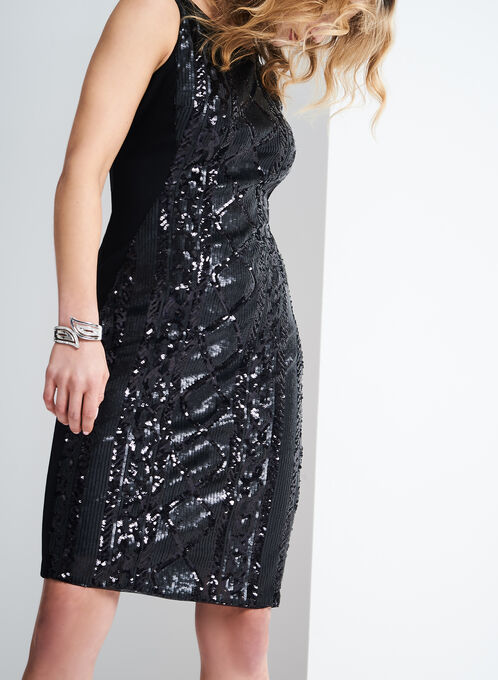 Adrianna Papell Sequin Sheath Dress, Black, hi-res