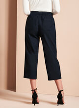 Straight Leg Linen Capris, Blue, hi-res