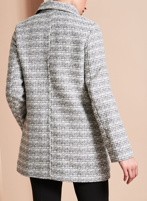 Tweed Stand Collar Coat, Black, hi-res