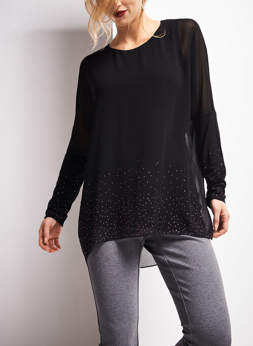Long Sleeve Rhinestone Embellished Blouse, Black, hi-res