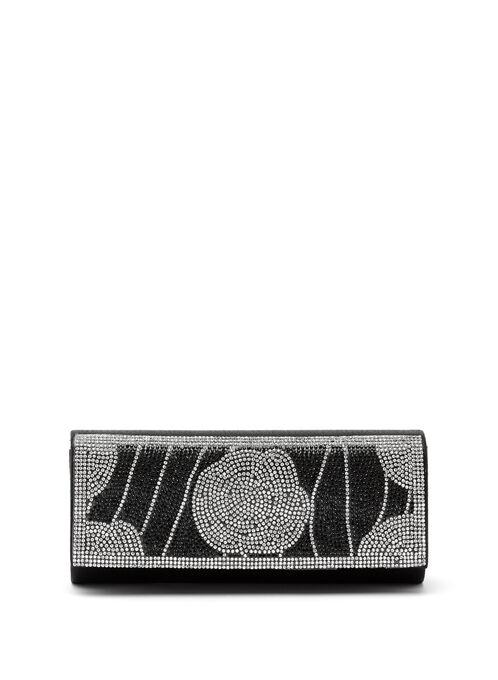 Pochette à rabat incrustée de cristaux, Noir, hi-res