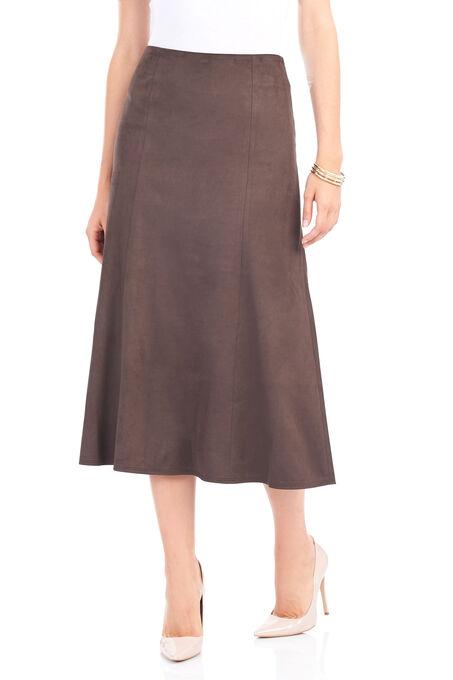 Solid Gored Midi Skirt, Brown, hi-res