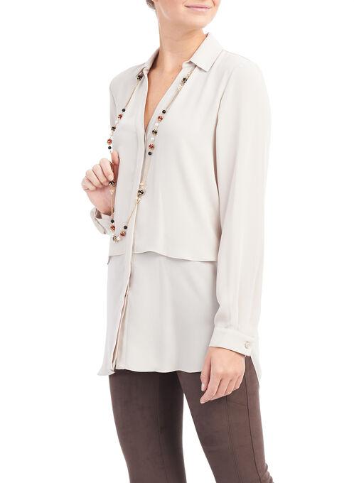 Soft Crepe Button Front Blouse, Off White, hi-res