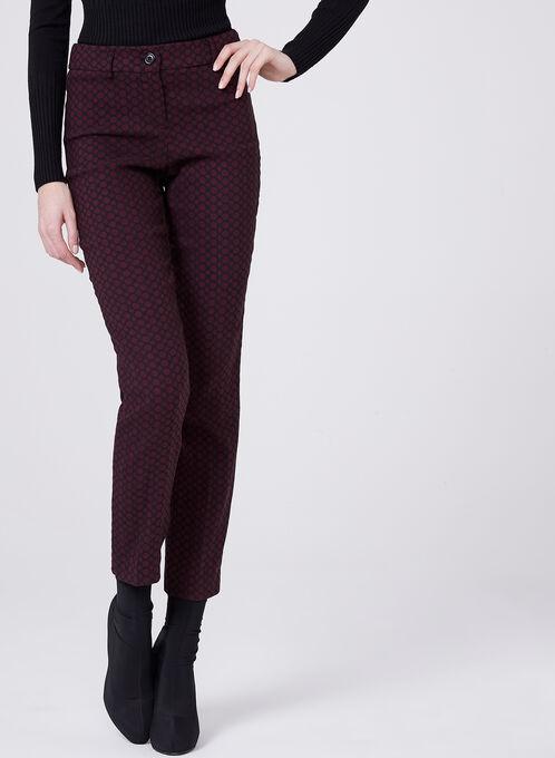Pantalon à jambe droite et imprimé géométrique, Rouge, hi-res