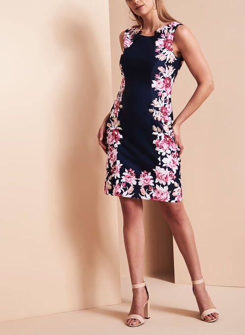 Tahari Floral Print Scuba Dress, Multi, hi-res