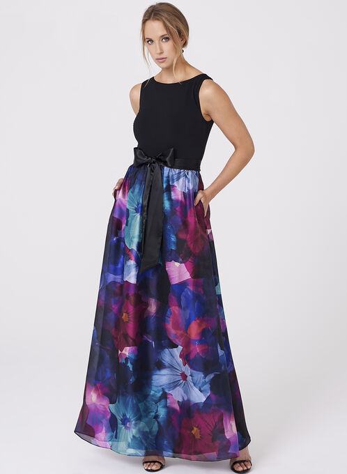 Ellen Tracy - Floral Print Organza Gown, Black, hi-res