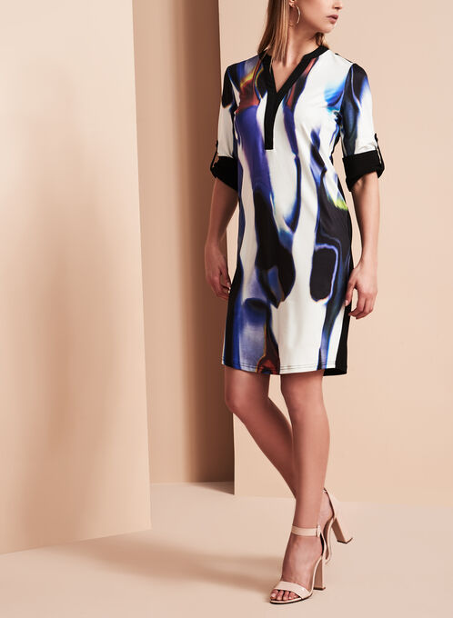 Simon Chang - Abstract Print Dress, Multi, hi-res