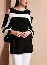 Frank Lyman Contrast Cold Shoulder Blouse, , hi-res