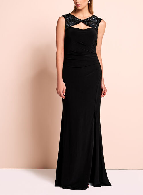 Sequin Jersey Evening Gown , Black, hi-res