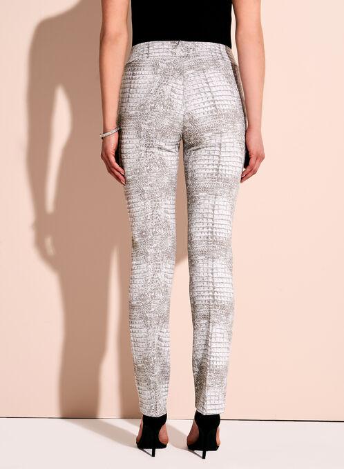 Crocodile Print Straight Leg Pants, Brown, hi-res