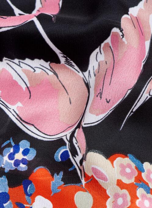 Bird & Floral Print Scarf, Pink, hi-res