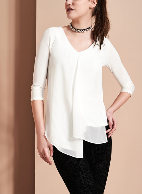 V-Neck Asymmetrical Tunic Top , Off White, hi-res