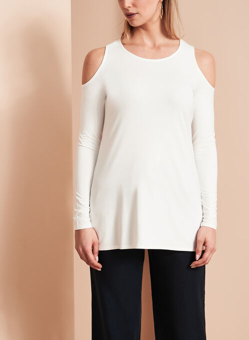 Long Sleeve Cold Shoulder Top, Off White, hi-res