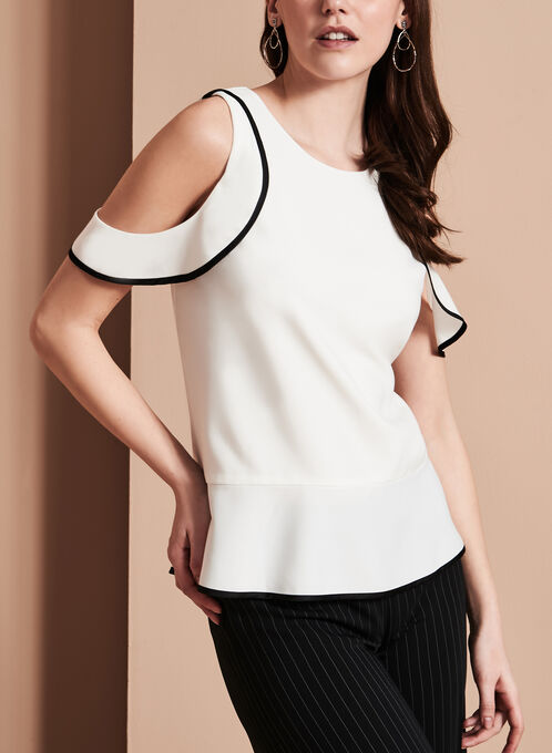 Ruffle Trim Cold Shoulder Blouse, Off White, hi-res