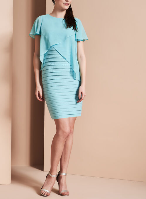 Adrianna Papell Chiffon Overlay Dress, Blue, hi-res