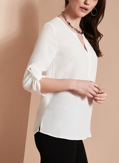 V-Neck Tunic Blouse , Off White, hi-res