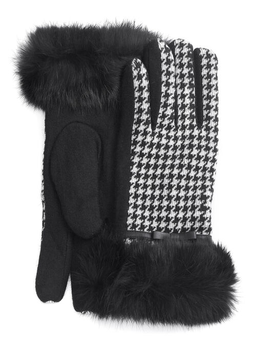 Houndswooth Wool & Fur Gloves, Black, hi-res