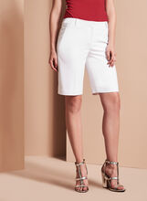 Solid Crepe Bermuda Shorts, White, hi-res