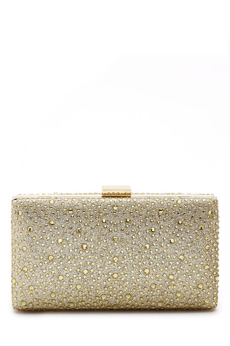 Scattered Crystal Box Clutch, Gold, hi-res