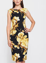 Floral Print Scuba Dress, Yellow, hi-res