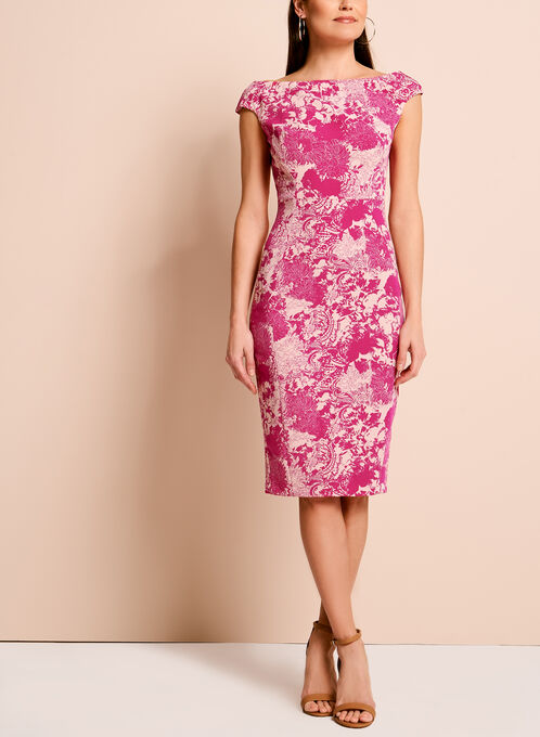 Jax Floral Lace Print Dress, Pink, hi-res