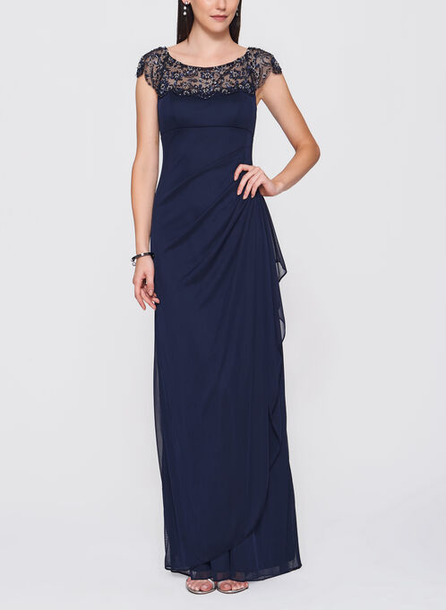 Embellished Mesh Trim Gown, Blue, hi-res