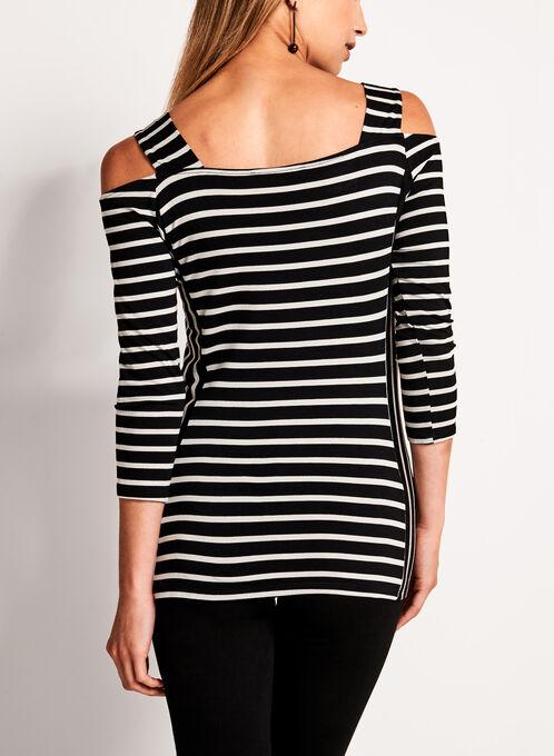 Cold Shoulder Stripe Print Top, Black, hi-res