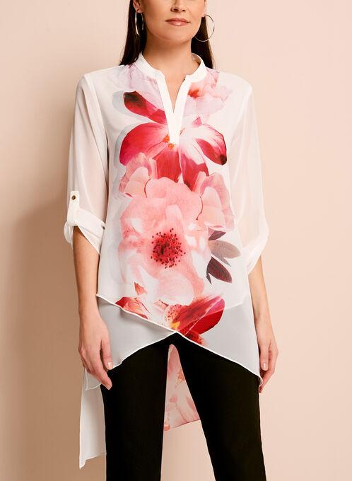 Frank Lyman Floral Print Asymmetric Tunic, White, hi-res
