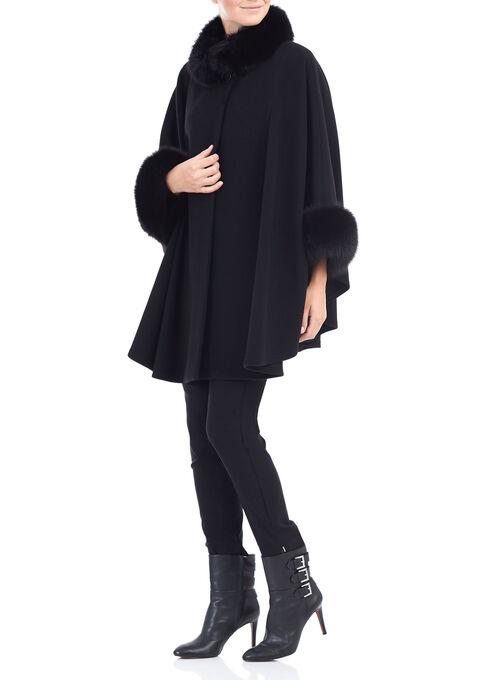 Mallia Wool & Fur Coat , Black, hi-res