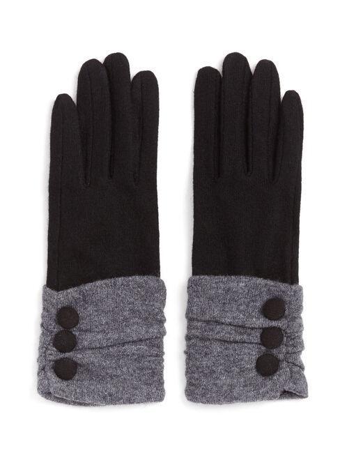 Wool Button Trim Gloves, Black, hi-res