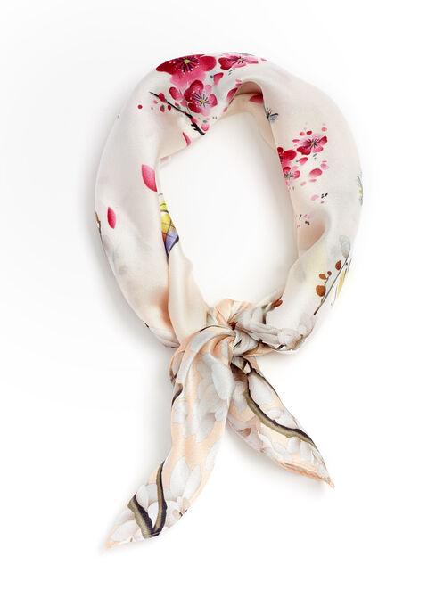 Foulard carré fleuris à motif d'oiseaux , Rose, hi-res