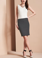 Stripe Print Pencil Skirt, Black, hi-res