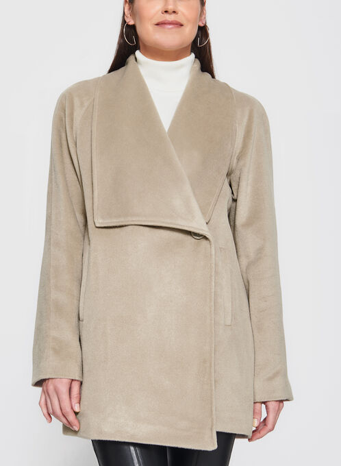 Novelti - Wool-Like Draped Lapel Coat, Off White, hi-res