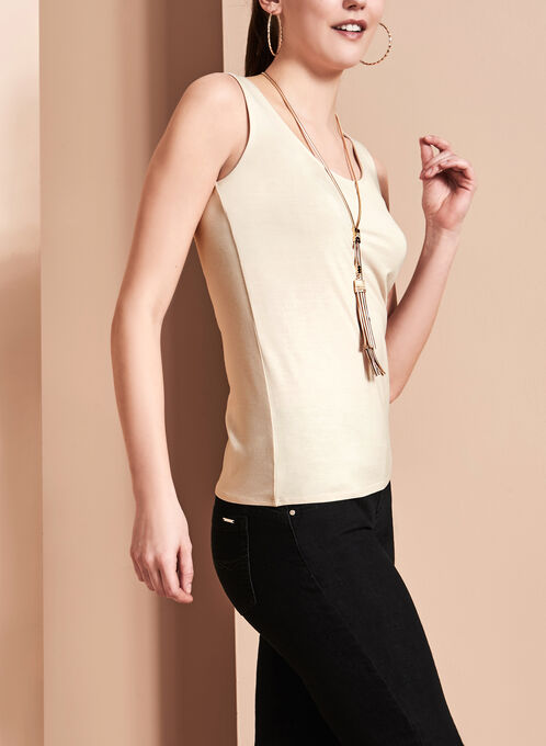 Sleeveless Scoop Neck Cami, Grey, hi-res