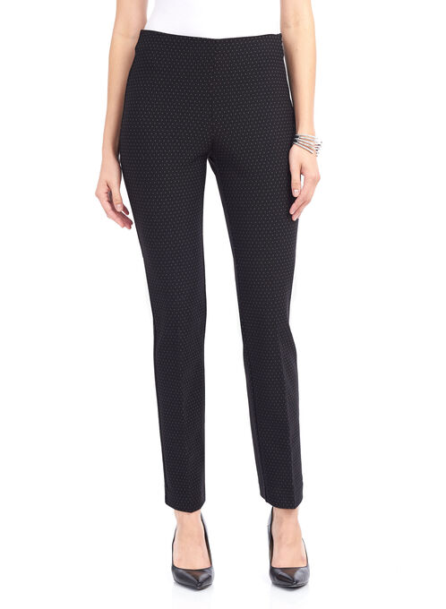 Dot Print Knit Slim Leg Pants , Black, hi-res