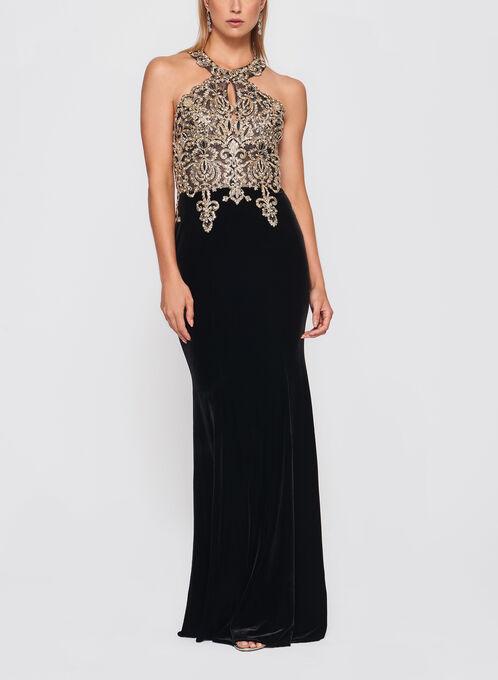 XSCAPE - Crystal Embellished Velvet Gown, Black, hi-res