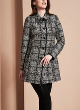Novelti - Jacquard Tweed Banker Coat, Black, hi-res
