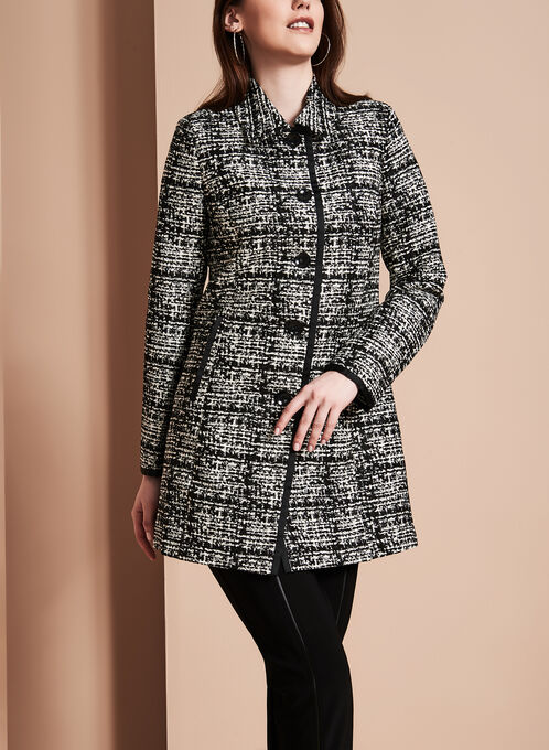 Novelti - Manteau jacquard aspect tweed, Noir, hi-res