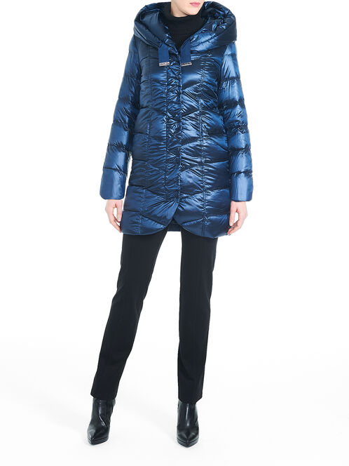 T Tahari Iridescent Down-Filled Packable Coat, Blue, hi-res