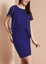 Adrianna Papell Chiffon Overlay Dress, Blue, hi-res