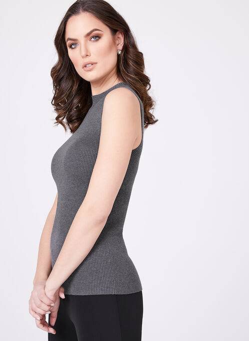 Sleeveless Mock Turtleneck Sweater, Grey, hi-res