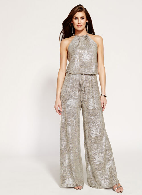 Foil Knit Cleo Neck Wide Leg Jumpsuit, Grey, hi-res