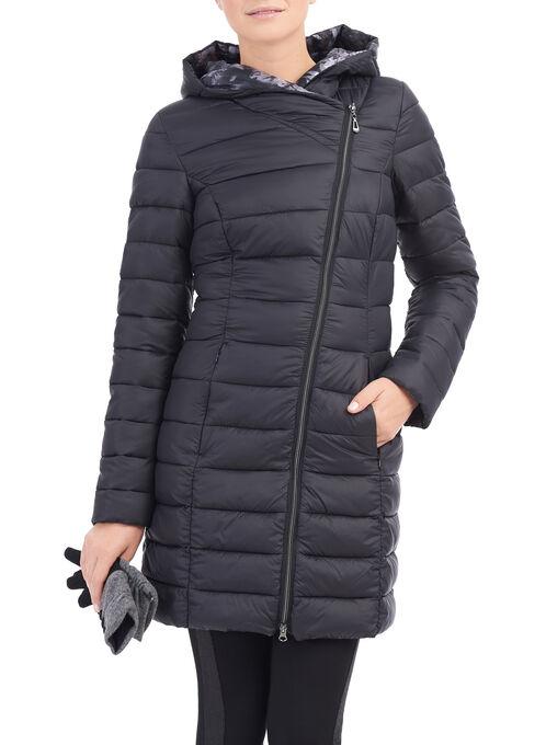 Novelti Faux Down Quilted Jacket, Black, hi-res
