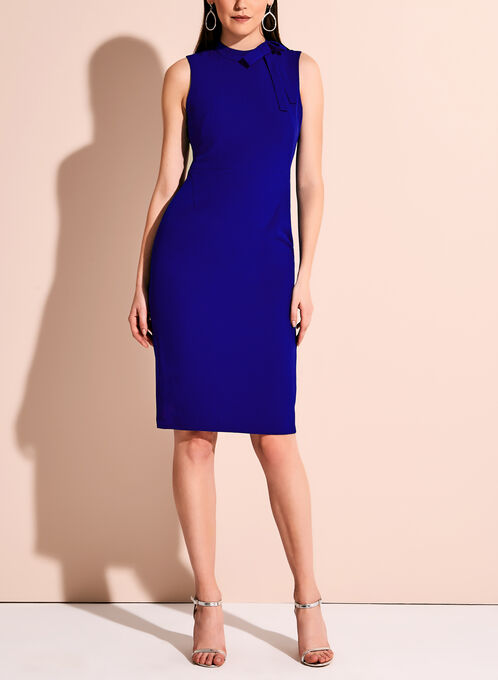 Sleeveless Bow Neck Crepe Dress, Blue, hi-res