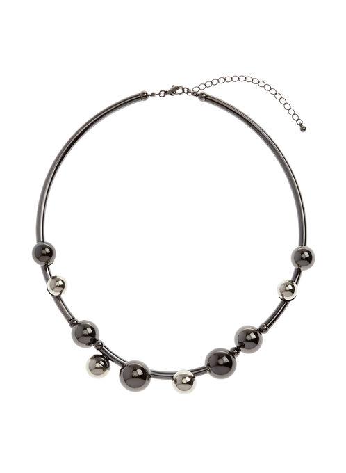 Rigid Collar Necklace, Grey, hi-res